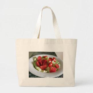 Tomato and cucumber salad jumbo tote bag