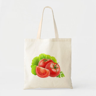 Tomato and lettuce leaves budget tote bag
