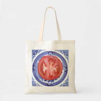 Tomato and Willow Pattern Plate. Canvas Bag