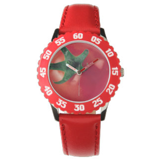 Tomato Bezel with Red Numbers Wristwatches