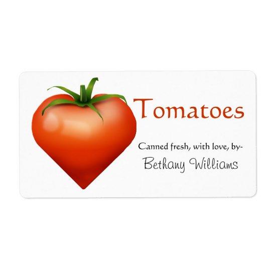 Tomato canning label