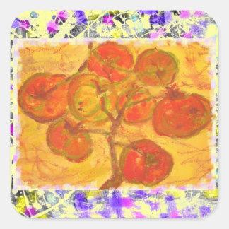 tomato cluster watercolour drip square sticker