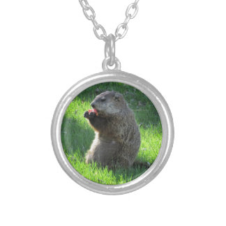 Tomato Groundhog Silver Plated Necklace
