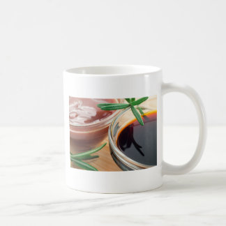 Tomato ketchup and soy sauce in a transparent bowl coffee mug