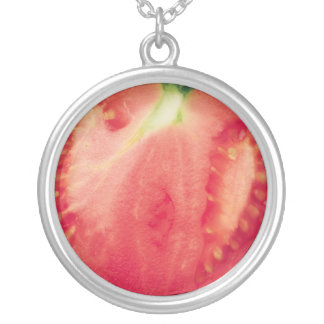 Tomato Large Silver Plated Round Necklace