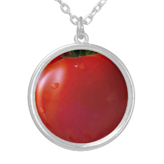 Tomato Medium Silver Plated Round Necklace