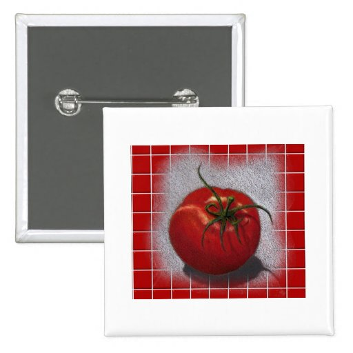 TOMATO ON RED: ART BUTTON