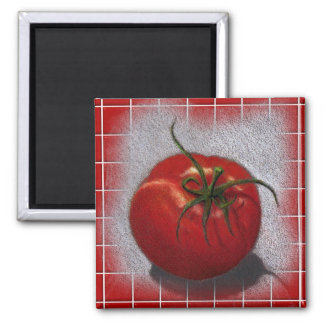 TOMATO ON RED: ART SQUARE MAGNET