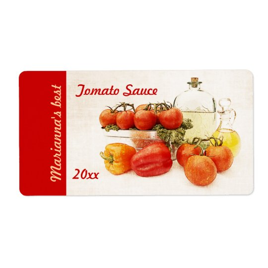 Tomato or pasta sauce canning label