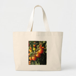 Tomato plants growing in the garden . Tuscany Large Tote Bag