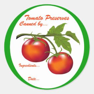 Tomato Preserves Canning label Round Sticker