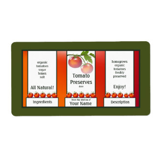 Tomato Preserves Canning Label Shipping Label