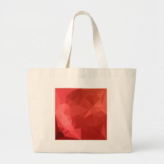 Tomato Red Abstract Low Polygon Background Large Tote Bag