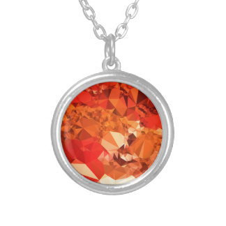 Tomato Red Abstract Low Polygon Background Silver Plated Necklace