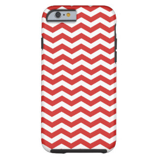 Tomato Red And White Zigzag Chevron Pattern Tough iPhone 6 Case