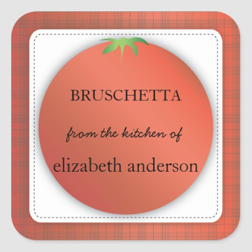 Tomato Red Plaid From the Kitchen of Label Square Sticker