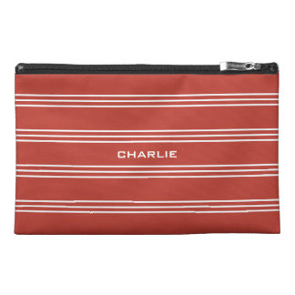 Tomato Red Stripes custom monogram accessory bags