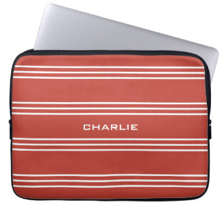 Tomato Red Stripes custom monogram laptop sleeves