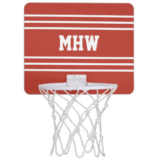 Tomato Red Stripes custom monogram mini hoop