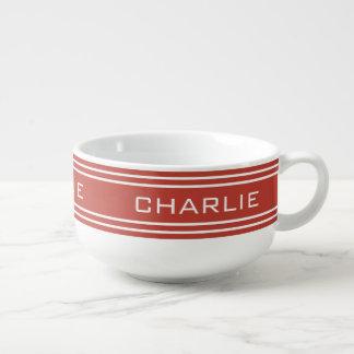 Tomato Red Stripes custom monogram soup mug