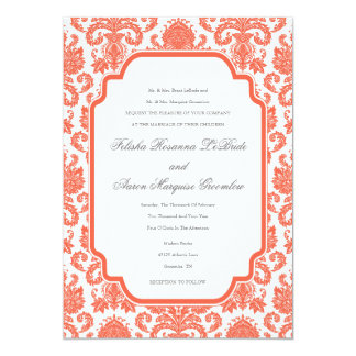 Tomato Red Weddings Designer Damask Template