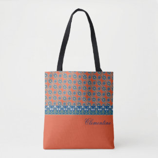 Tomato Red with Blue Flowers Tote Bag