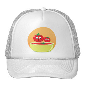 Tomatoes and tomato soup orange background cap trucker hat