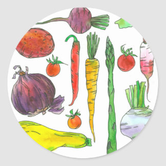 Tomatoes Asparagus Beets Watercolor Vegetables Classic Round Sticker