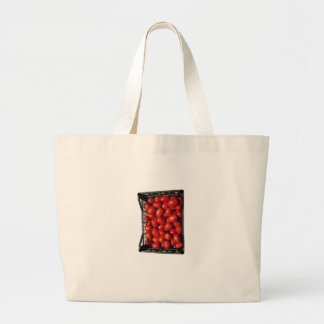 Tomatoes in box on white background jumbo tote bag