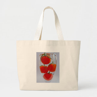 Tomatoes in glass of water canvas bags