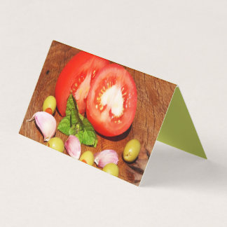 Tomatoes on wood business card