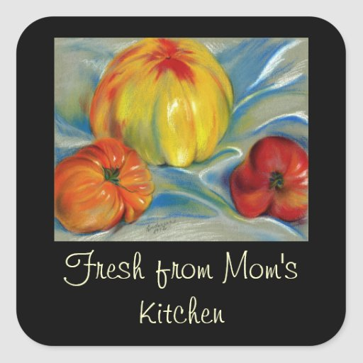 Tomatoes Red, Orange, Yellow - Pastel Drawing Square Stickers