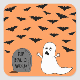 Tombstone, Ghost & Bats (Orange Background) Square Sticker