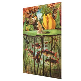 Tommelise very desolate on the water lily leaf, in stretched canvas print