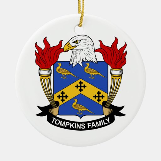 Tompkins Family Crest Christmas Tree Ornament