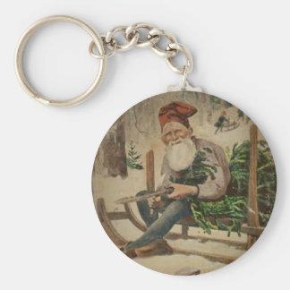 Tomte Trims the Tree Key Ring