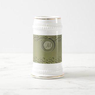 Tonal Elegance Faded Olive Gold Monogrammed Beer Steins