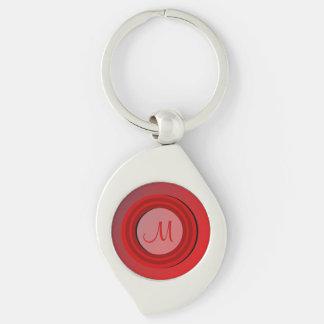 Tonal Elegance Red Monogrammed Key Chains