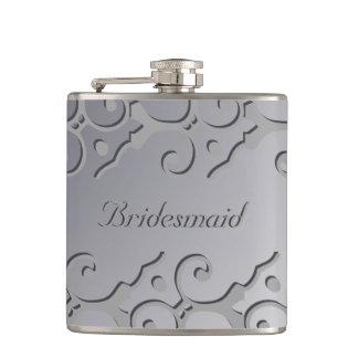 Tonal Elegance Silver BRIDESMAID Flask