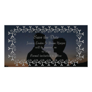 Tonal Elegance Silver SAVE THE DATE Photo Card