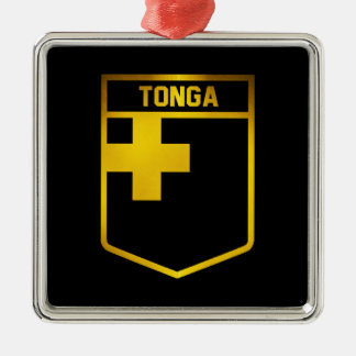 Tonga Emblem Silver-Colored Square Decoration