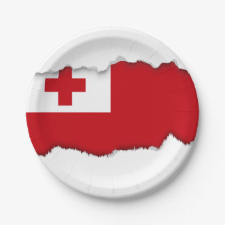 Tonga Flag 7 Inch Paper Plate