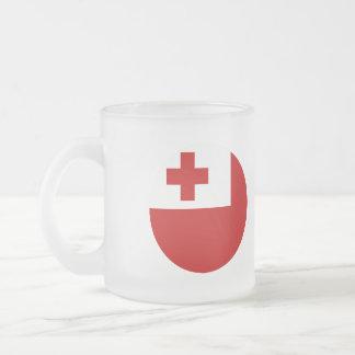Tonga Flag Frosted Glass Coffee Mug