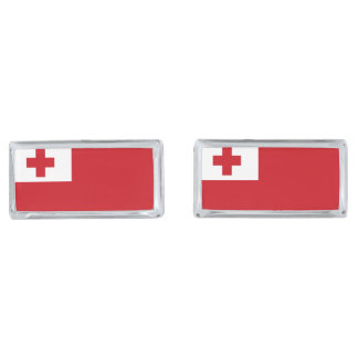 Tonga Flag Silver Finish Cufflinks