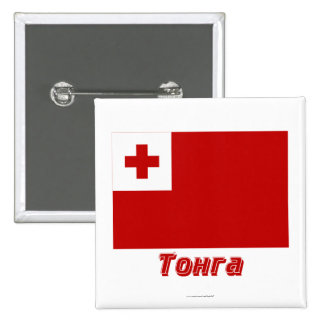 Tonga Flag with name in Russian Button