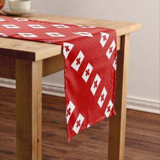 Tonga Island Flag Red Cross Short Table Runner