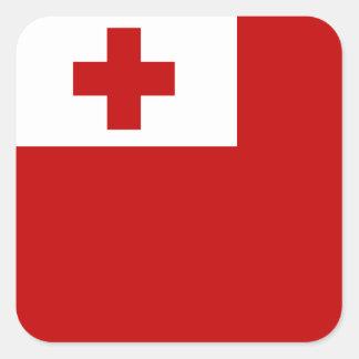 Tonga Island Flag Red Cross Square Sticker