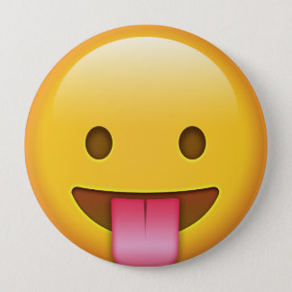 Tongue-Out Emoji 10 Cm Round Badge