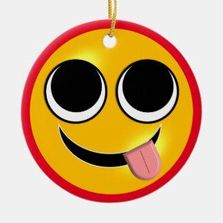 Tongue Out Emoji Ceramic Ornament