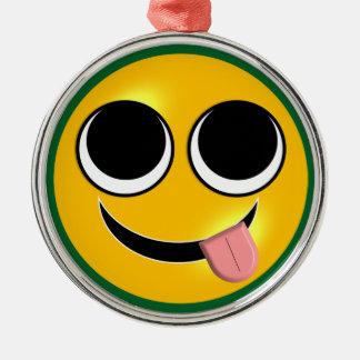Tongue Out Emoji Metal Ornament